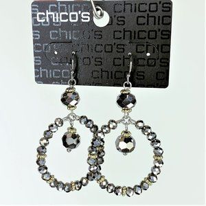 Chicos Faceted Hematite Stone Dangle Hoop Earrings